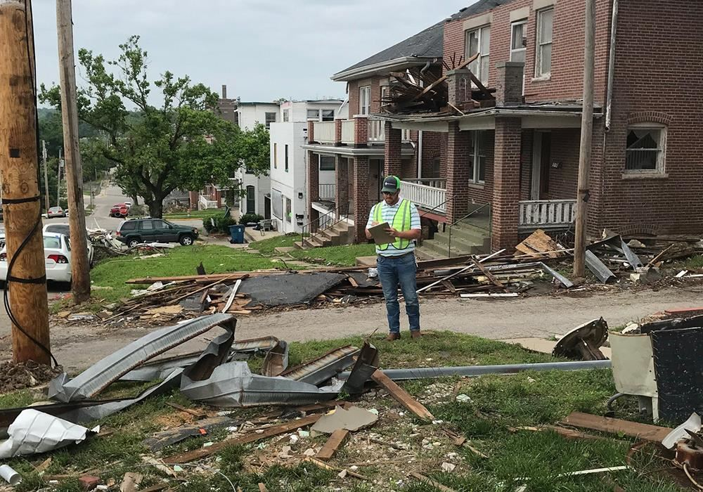 Blake Eastwood volunteering after Jefferson City tornado.