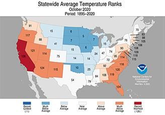 State average temperature ranks